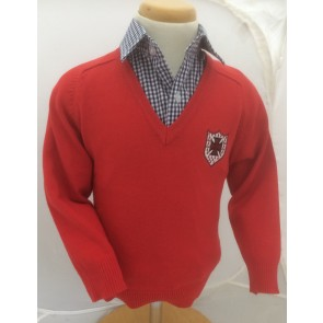Boys Red Cotton Blend Jumper Pre-Prep